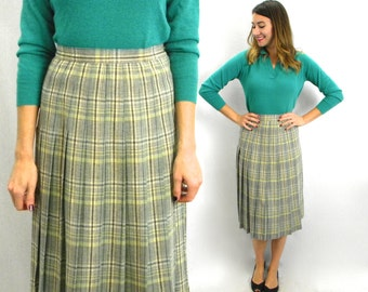 50s Gray Pleated Skirt | Plaid Pleated Skirt | Medium