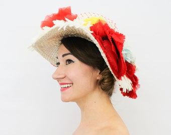 80s Wide Brim Flower Hat | White Straw Wide Brim | Colorful Flower Hat  | Sonni California
