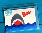 Boo! Jaws Shark Blank Greetings Card