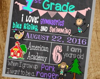 Back to School Chalkboard Poster Digital File- Print your own