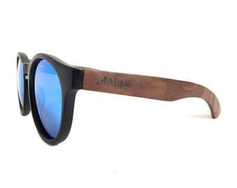 Mato wooden Sunglasses, Wood Sunglasses, Wooden Eyewear, Blue Mirror Sunglasses, Erika Round Sunglasses, Polarized Bamboo Sunglasses, shades