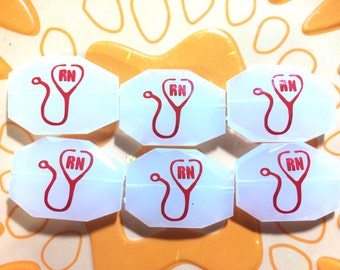 RN Nurse Decal Beads - White and Red or you pick colors - nurse gift jewelry - stethoscope charm - bangle bracelet necklace jewelry