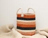 Jute Basket // Small Basket // Market Bag // Storage Basket // Striped Basket // African Woven Basket // Orange Black Cream