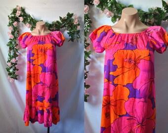 Vintage 60s Hawaiian Dress Floral Maxi Dress Pink Boho Dress Tiki Psychedelic Dress Colorful Vacation Dress 60s Beach Party Dress Day Dress