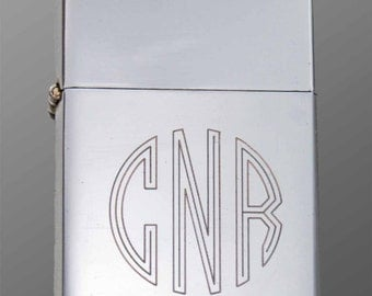 engraved wind proof lighter personalized with your custom monogram