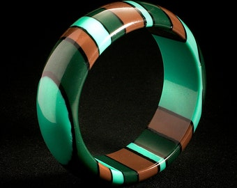 hand made heat fused striped lucite bangle