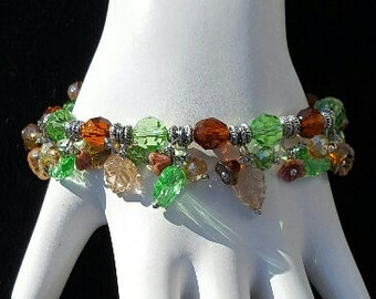 Fall Leaves and Flower Bracelet, Free Shipping