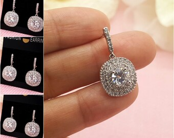 Set of 4 Wedding bridal AAA Cubic Zirconia Earrings, 4 CZ  bridesmaid earrings gifts