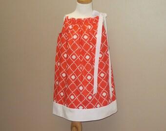 Orange Dress, Girls Pillowcase Dress, Girls Sun Dress, Matching Doll Dress