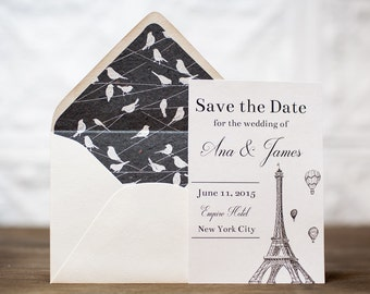 Paris Eiffel Tower Save the Dates | French Wedding Save the Date
