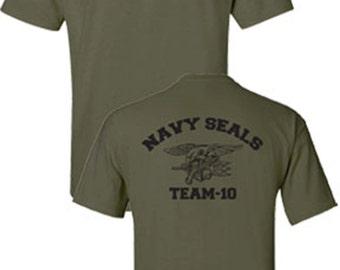 Navy Seals Team 10 Seal Logo Printed Front and Back Military Men's Tee Shirt 726