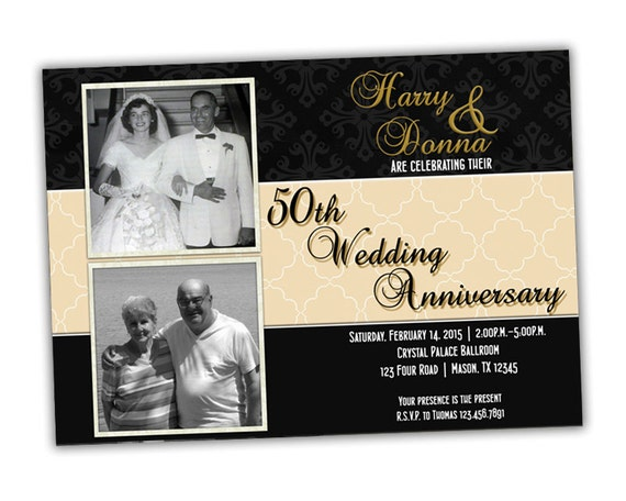 Black Gold 50th Wedding Anniversary Invitations
