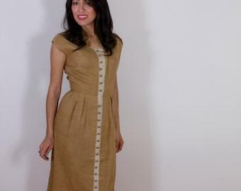 "1950s Brown Linen Wiggle Dress ""Helen of California"""
