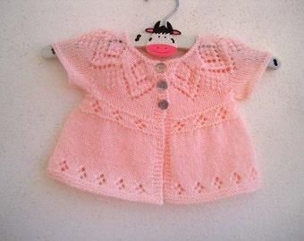 Megan Cardi - Knitting Pattern - Baby girl to age 6 cardigan - Instant Download PDF