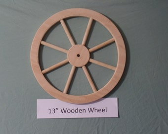 """Handcrafted 13"""" unfinished wooden wheel with 8 spokes, Part No. 1401-G"""