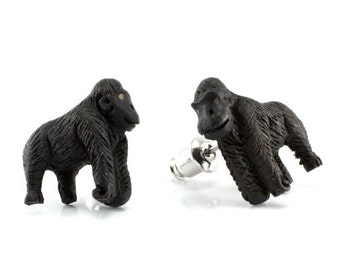 "Hand Carved - ""Silverback"" - Wood Stud Earring - African Safari"