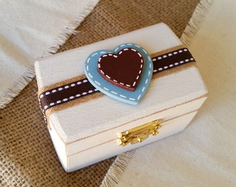 Rustic Ring Box, Ivory Ring Bearer Box, Country Ring Box, Personalized Ring Box, Rustic Wedding Decor, Wooden Ring Box, Jewelry Ring Box