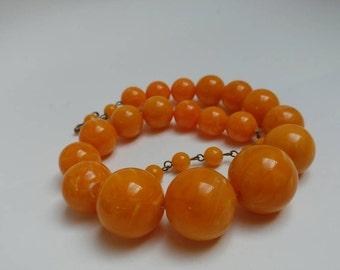 Vintage 60s faux egg yolk amber plastic necklace