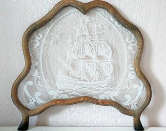 Vintage framed lace window decoration nautical ship theme