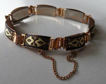 Vintage Damascene panel bracelet
