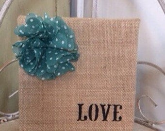 Love Block, Burlap Block, Burlap Decor, Home Decor, New Home Gift, Wedding Gift, Gift For Her