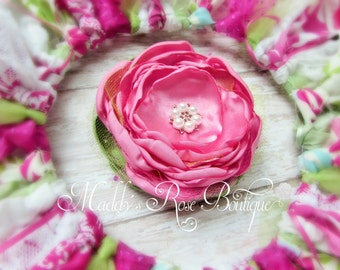 handmade satin flower clip, satin singed flower, shabby chic flower headband, pink flower, handmade flower clip, Spring hair clip, summer