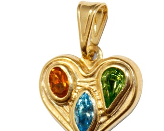 Heart Pendant with 20 inch Figaro Chain 18k Gold Plated Pendant -  Heart Necklace with CZ
