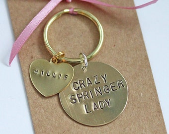 Crazy Springer Lady Hand stamped Keyring, Personalised with dogs name(s)