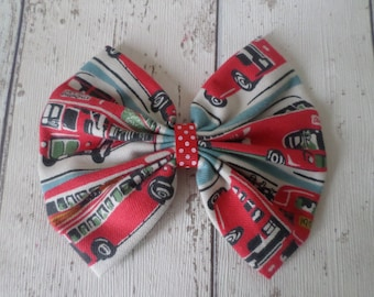 CATH KIDSTON Fabric Hairbow London Red Bus Buses Print Hair Bow Clip Oversized Accessory Handmade Gift Vintage Quirky Style