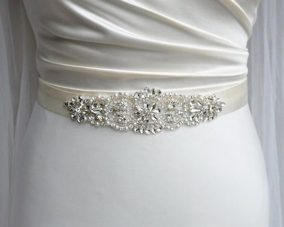 Bridal belt wedding belt bridal sash rhinestone belt for Wedding dress accessories belt