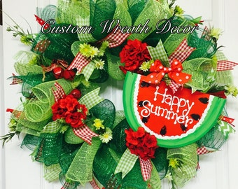Happy Summer Watermelon Wreath, Summer Wreath, Deco Mesh Wreath