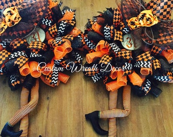 Double Door Witch Wreaths, Orange & Black Halloween Witch Wreath, Twin Witches Wreath, Deco Mesh Halloween Wreath