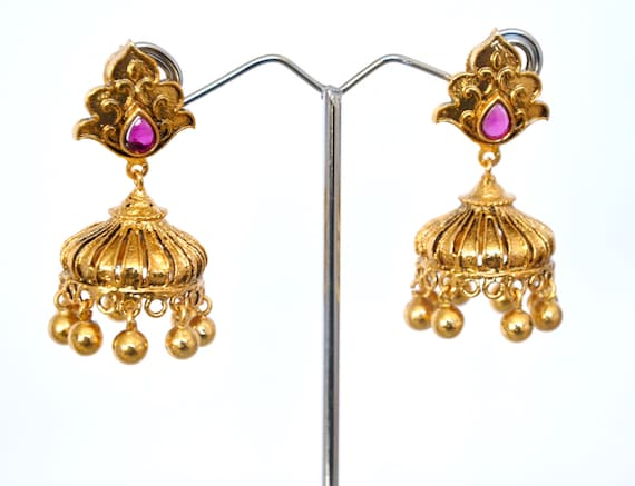 Dainty Antique Jhumkis | Indian Jewelry | Indian Earrings | temple jewelry with faux pearls