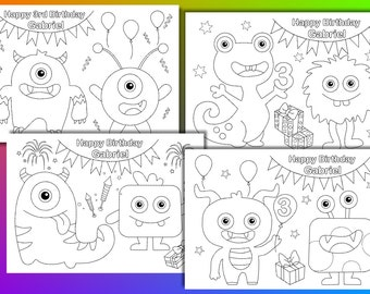24 Monster Coloring Book Pages with games monster masks