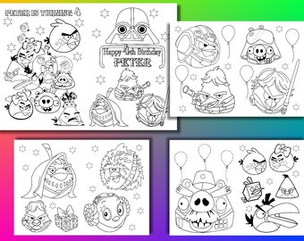 Angry Birds Star Wars Birthday Party Coloring Pages Activity Book PDF File