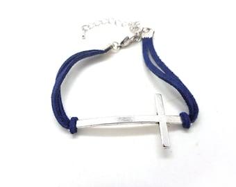 Bracelet Silver Cross, faux Blue Suede cord