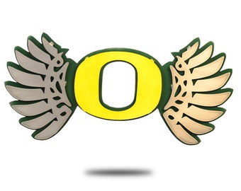 University of Oregon Wings Vintage Yellow on Green Wall Art