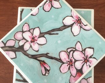 Cherry blossom coasters, ceramic tile coasters, cherry blossom tile coasters, tile coasters, coaster set, table coasters