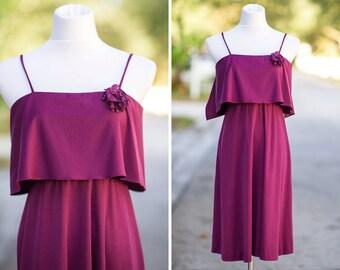 70s boho dress XS Extra Small mini purple spaghetti strap sleeveless flower pin flowy a line ruffle solid color
