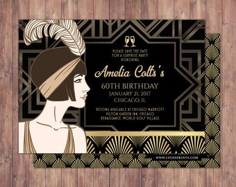 Great Gatsby, save the date invitation, RSVP card, Roaring 20's, Hollywood film theme party invite. Black and gold, glam, old Hollywood