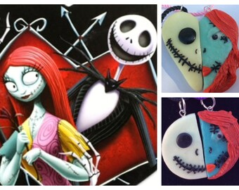 Jack and Sally couples neckalce Skelenton  inspired couples necklace glow in the dark handmade polymer clay