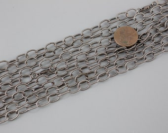 6x8mm Oxidized Texturized Sterling Silver Chain by the foot
