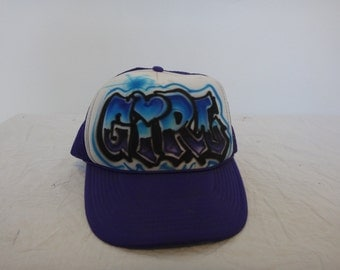 Custom Graffiti GIRL Trucker Hat/ Purple Trucker Hat/ one size fit all Trucker Hat