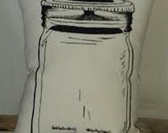 Mason Jar Canvas Accent Pillow
