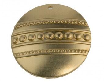 Embossed domed brass pendant. 22mm Pkg. of 2.  b9-0725(e)