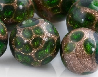 10% OFF Vintage Japanese Green and Aventurine lampwork made for Coro. 10mm. Pkg of 1. (b1-613)
