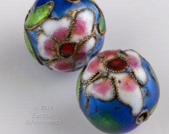 Vintage cobalt blue cloisonné  rounds. 14mm. Package of 2. b2-548(e)