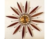 Mid Century Modern Brass Walnut Teak Wood Starburst Sunburst Clock