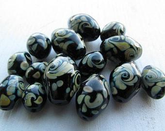 Lampwork beads set, black  handmade glass lampwork beads, set of 14 beads, beads for jewelry
