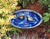 Reserved for Robin - Stoneware Birdbath is beautiful dark blue glazes